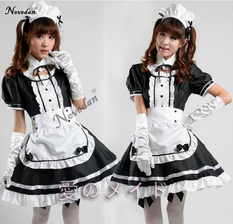 Sexy French Maid Costume Sweet Gothic Lolita Dress Anime Cosplay Sissy Maid Uniform Plus Size Halloween Costumes For Women 2017 anime vocaloid kagamine rin ren len cafe maid dress cosplay costume o