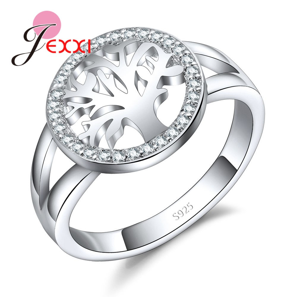 JEXXI New Round Hollow Tree of Life Wedding Rings for Women Cubic Zirconia Engagement Ring Bague Femme 925 Silver Finger Ring