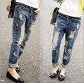 Новые моды для Женщин Отверстие отбортовки щеткой свободные джинсы можно свернуть брюки джинсовые прямые джинсы горячее надувательство