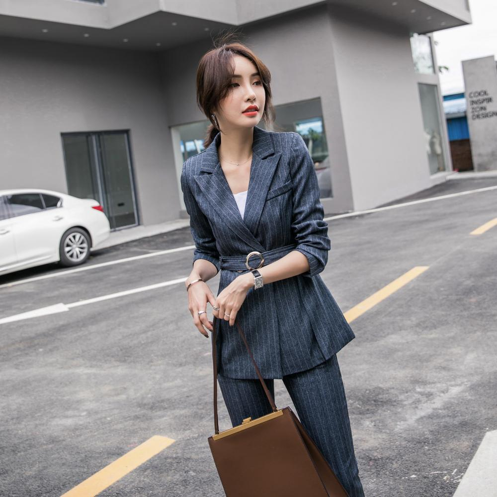 Women's Business Suit Jacket Casual High Quality Striped Belt Suit Fashion Pants Set 2019 Autumn New Women's Clothing Office Set
