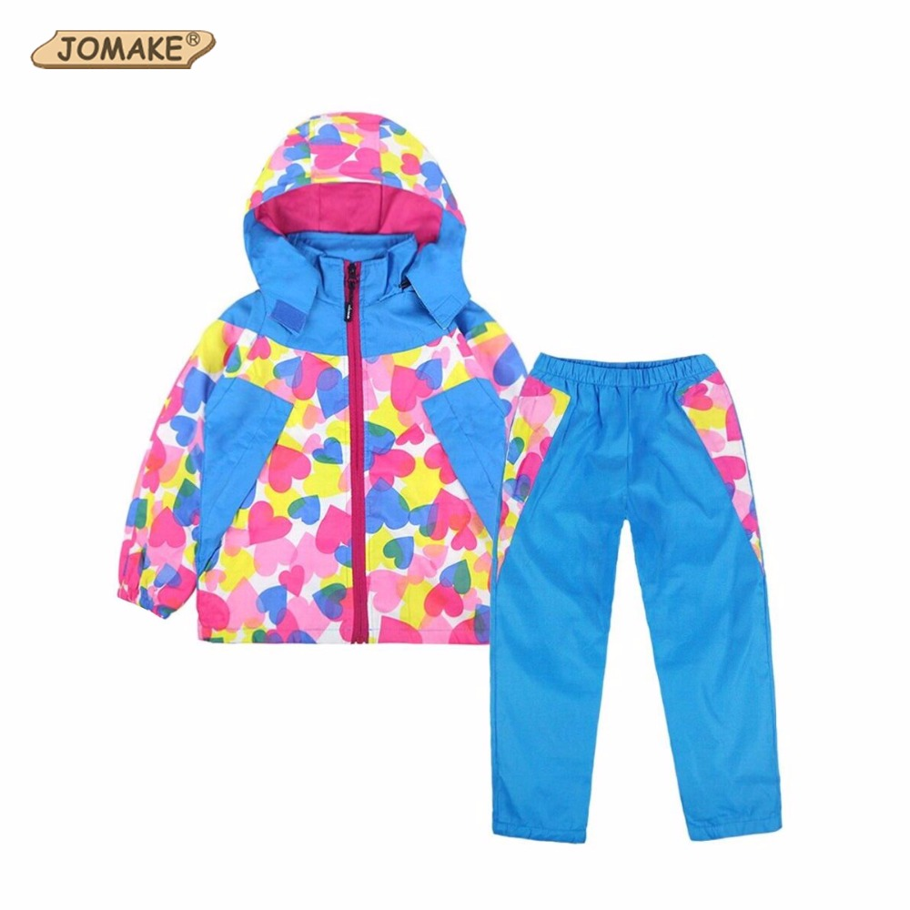 JOMAKE Children Clothing Sets New Autumn Kids Clothes Set Love Printing Jackets+Pants 2Pcs Sports Snow Ski Suit For Boys Girls