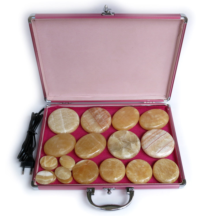 New type! 20pcs/set Hot stone body massager Gong Jade Salon SPA with heater bag 3set/lot new tontin 20pcs set yellow jade body massage hot stone beauty salon spa tool with heating bag 110v or 220v ysgyp nls