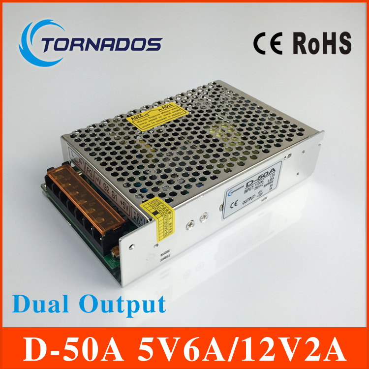 high quality dual Output Switching power supply 50W 5V 6A 12V 2A ac to dc power supply AC DC converter D 50A