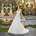 Cheap bridal gowns Tulle a line wedding dress plus size Lace up appliques custom made beaded wedding dresses 2017 vestido noiva