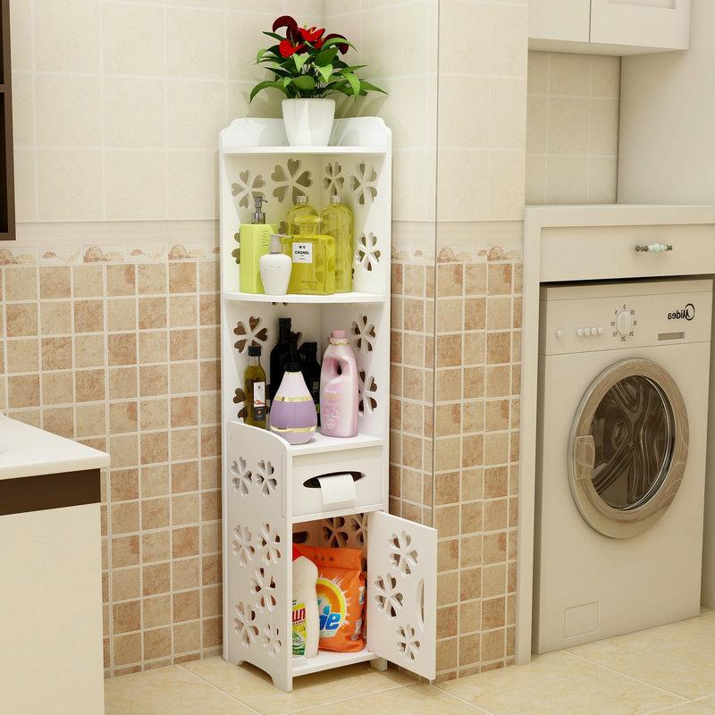 Bathroom Storage Cabinet Floor Standing Narrow Cupboard Pantry Lavatory Toilet