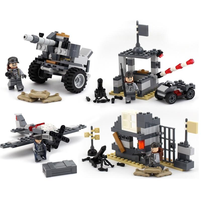 4 in 1 German Army World War 2 Military SWAT Soldier Weapon Gun Plane navy seals Building Blocks Figures Bricks Boy Toy Gift kid
