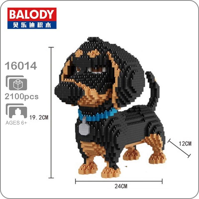 BS Micro Diamond Mini Building Nano Blocks Toy Dachshund Black Dog Pet Animal