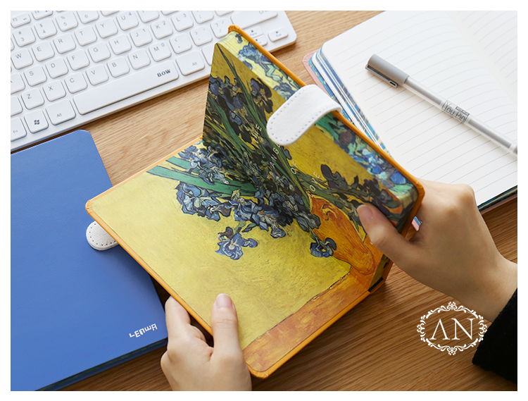Hard Cover Van Gogh Magnetic Notebook Diary Vintage Ruled Journal lenwa classic van gogh series notebook a6 vintage business carry small portable notebook 1pcs