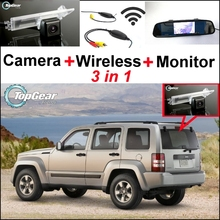 3 in1 Special Rear View Camera + Wireless Receiver + Mirror Monitor EASY DIY Parking System For Jeep Patriot Liberty 2007~2015