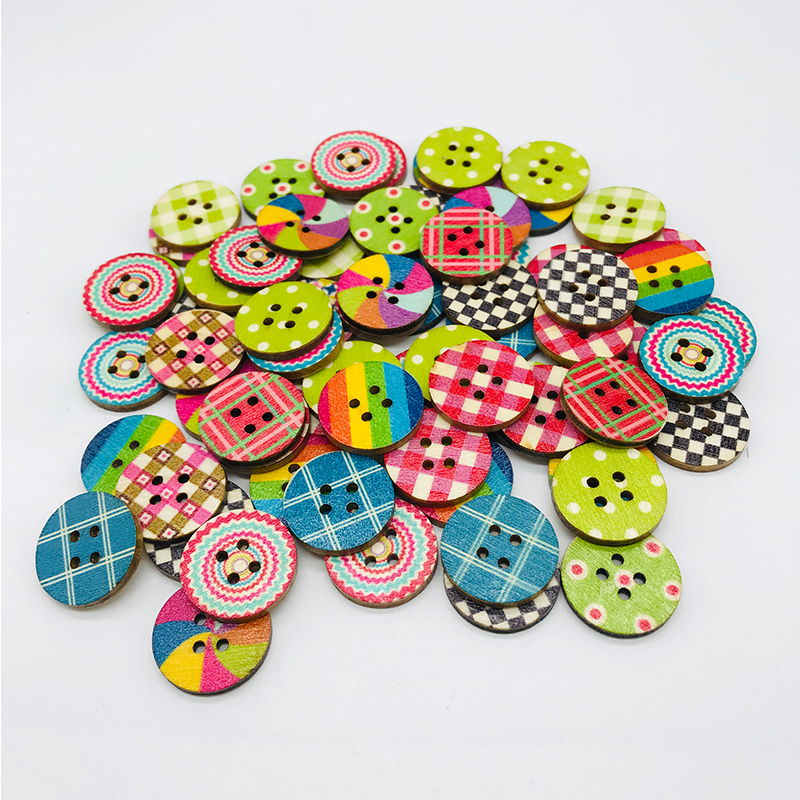 10PCS Mixed Wooden Buttons Round 4-Holes Sewing Scrapbooking Clothes