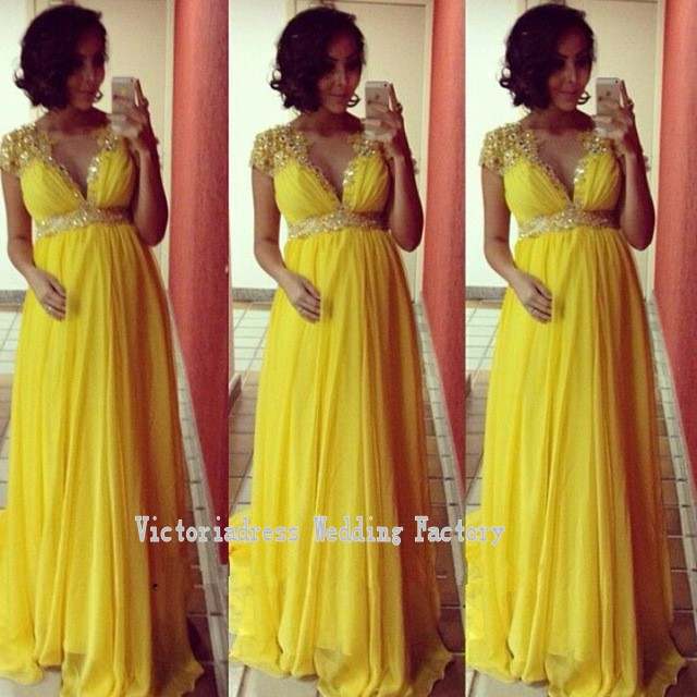 Robe De Soiree Yellow Evening Gowns With Sleeves Gold Sequins Long ...