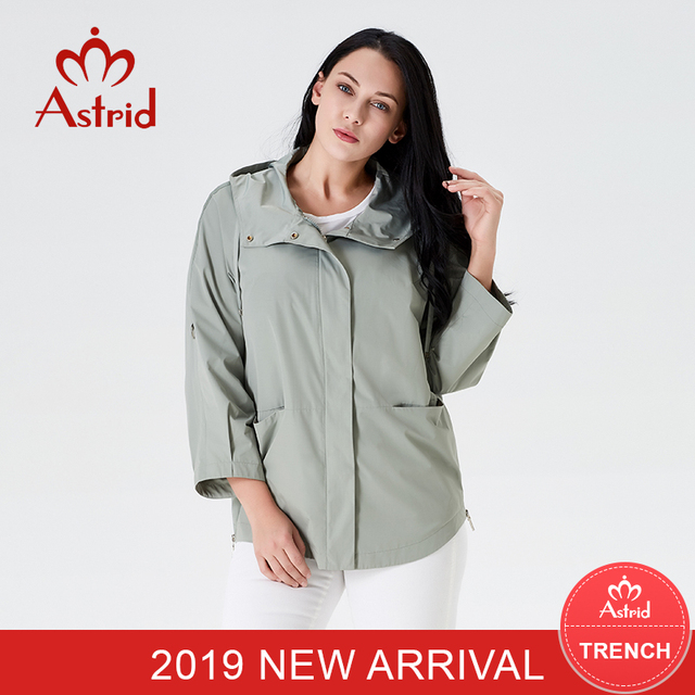 2019 Trench Coat spring autumn coat women Hooded Solid color short coat trench coat for women High Quality new style AS-9045