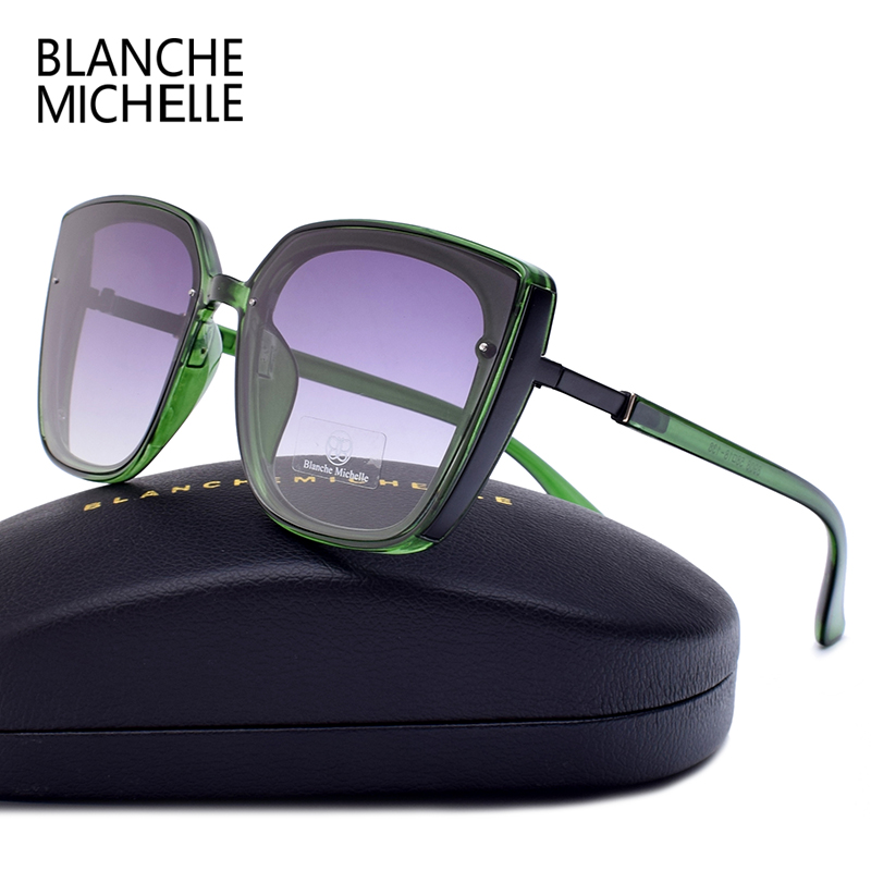 Blanche Michelle 2019 High Quality Cat Eye Polarized Sunglasses Women UV400 oculos Oversized Mirror Sun Glasses Brand With BoxWomens Sunglasses   -