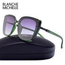 Yüksek kaliteli kedi gözü polarize güneş gözlüğü kadın UV400 óculos boy ayna güneş gözlüğü kadın 2020 Sunglass marka kutusu ile Polarized Sunglasses Women