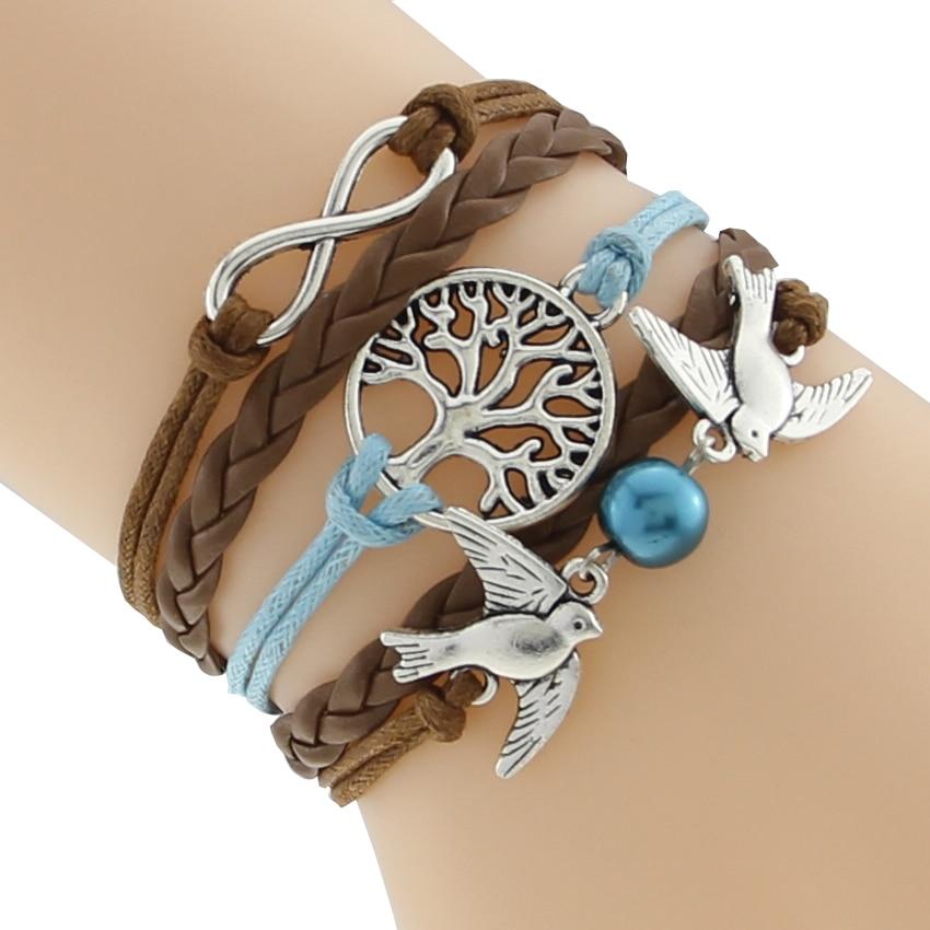 Bracelet Tresse multicouche en cuir,   Vie Arbre, symbole de l'infini  +  Oiseaux