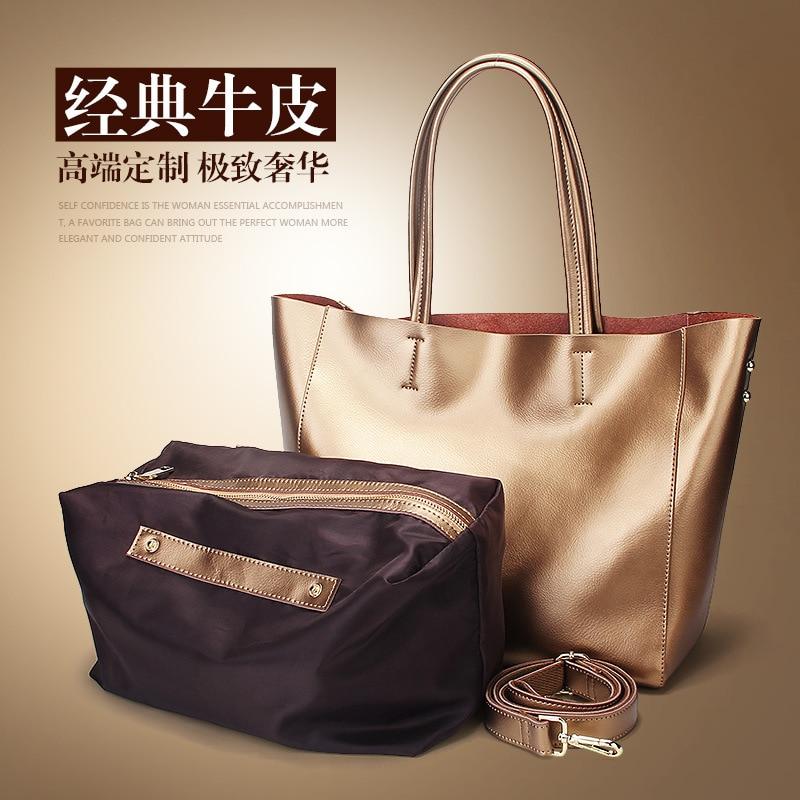 Fashion Women Real Genuine Leather Casual Women Handbag Large Shoulder Bags Elegant Ladies Tote Satchel Purse Bolsa