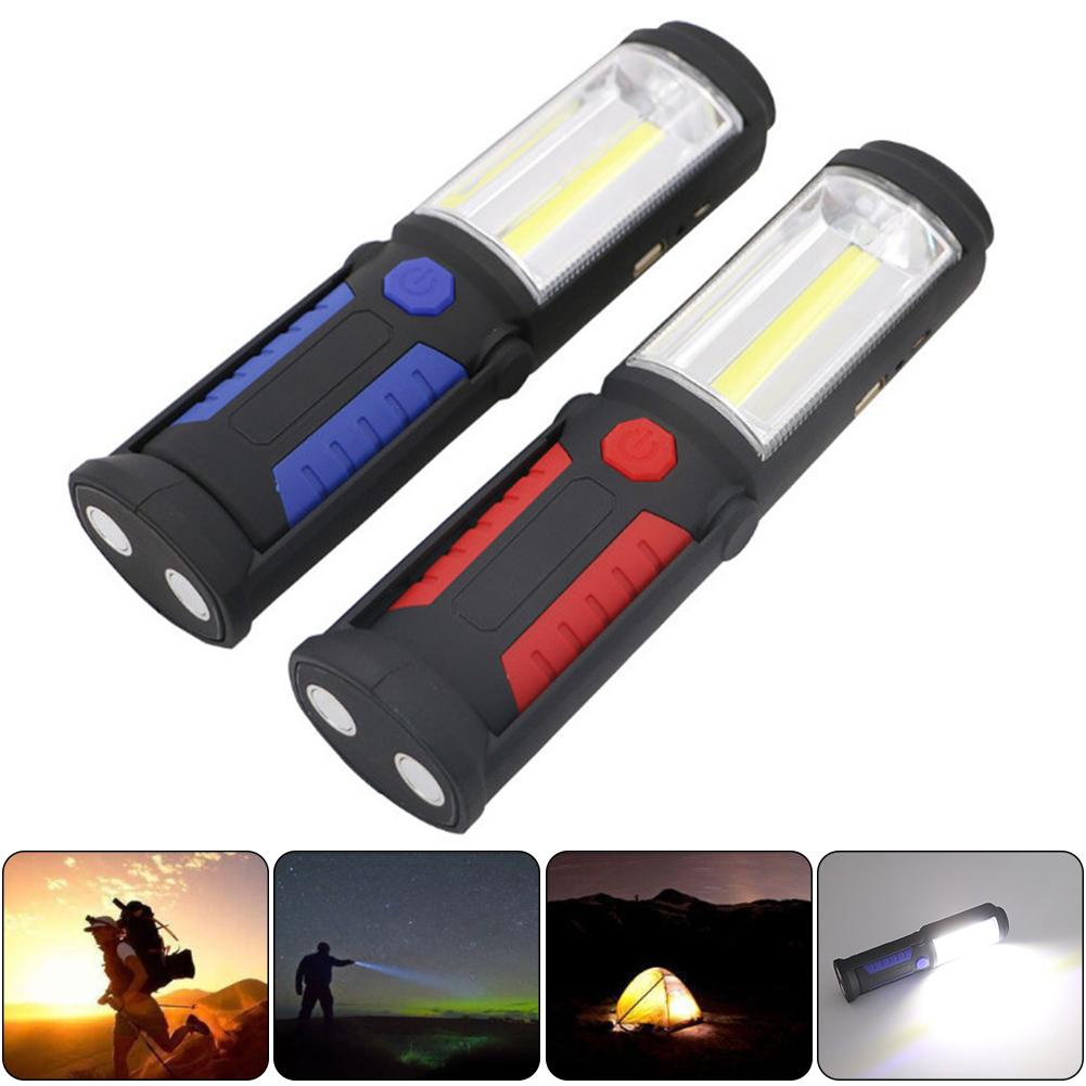 Outdoor New Mini Emergency Light COB+LED Rechargeable WorkLight Magnet Flashlight with Hook Folding Torch Lamp