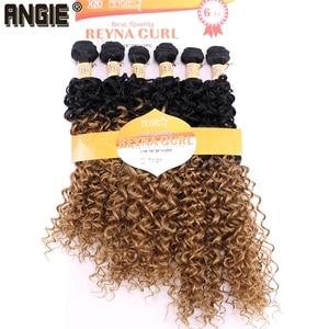 Image 2 - ANGIE Synthetische Kinky Krullend Haar Bundels Two Tone Ombre Kleur Haar Weave 16 18 20 inches Gemengde 1 pak Oplossing