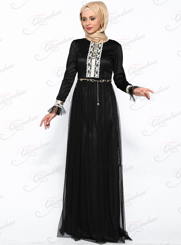 Latest Design Ladies Dresses Fashion Long Sleeve Black Silk Chiffon ...