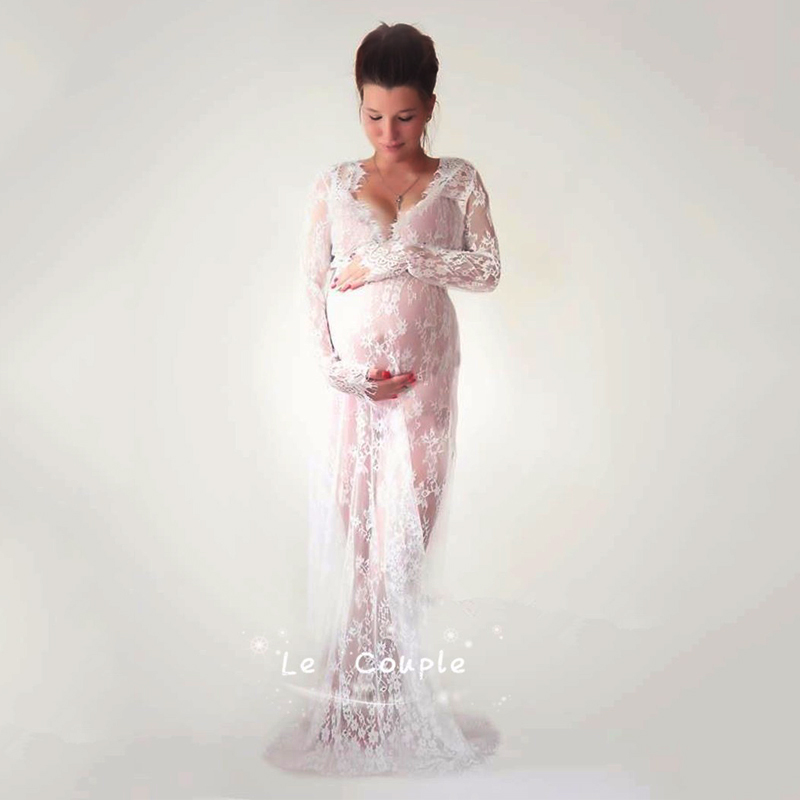 Maternity Dress Maternity Photography Props Lace Pregnancy Clothes Elegant Maternity Dresses For Pregnant Photo Shoot Cloth Plus