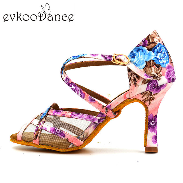 Evkoodance Latin Dancing Shoes Ladies Girl 2018 Flower Satin Shoes 8.3cm 7cm Ballroom Latin Salsa Dance Shoes For Women NL138