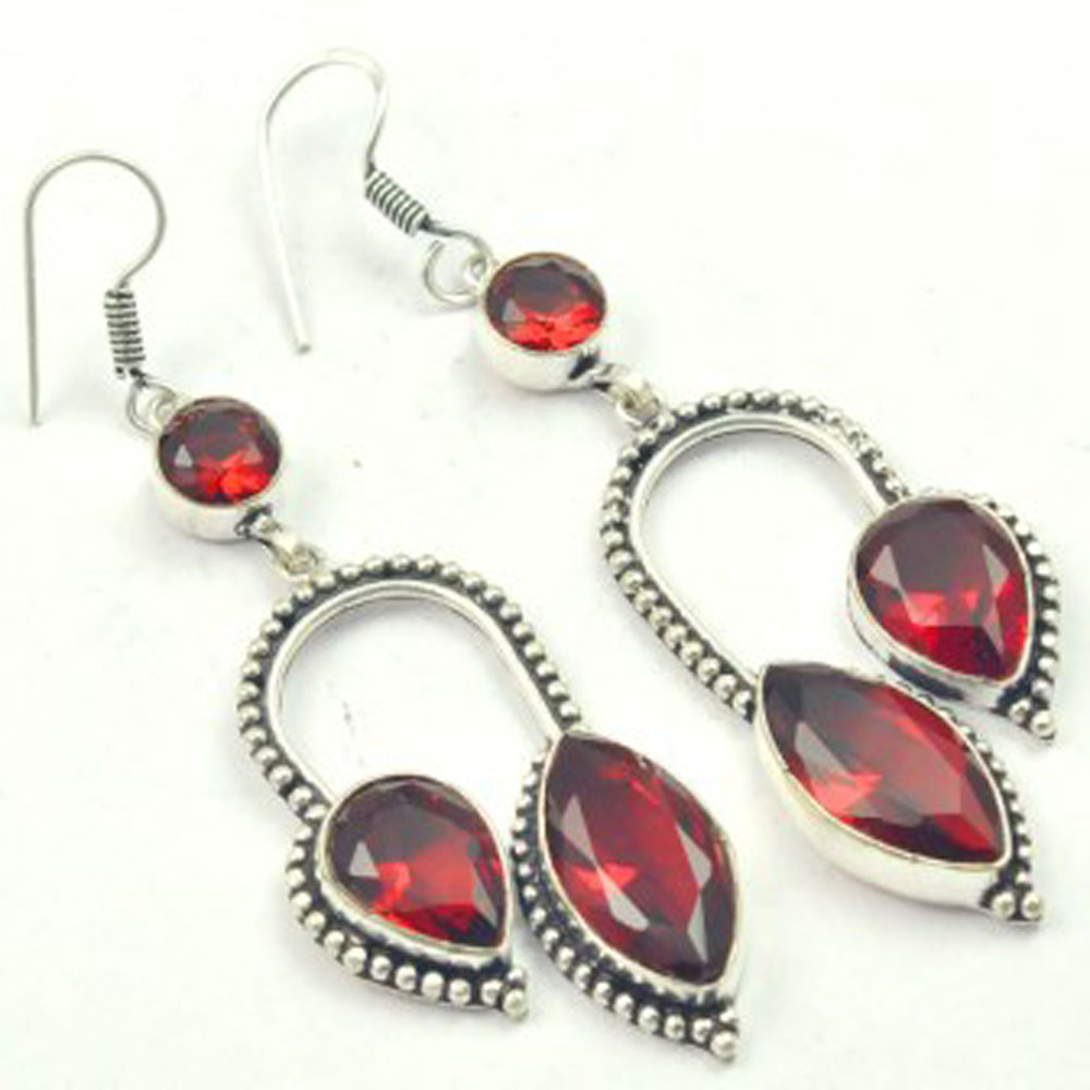 Garnets Earrings Silver Overlay over Copper USA Size 81mm E3525 in Drop Earrings from Jewelry Accessories