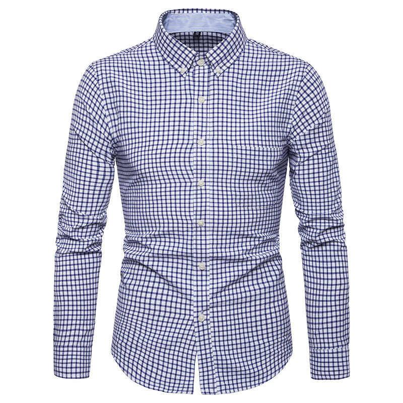 גברים מקרית ארוך שרוולים חולצה Slim Fit זכר חברתי עסקי שמלת חולצה מותג גברים בגדים רך נוח בתוספת גודל 5XL