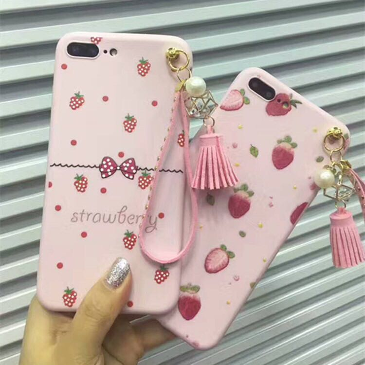 finest selection 75a50 99a5f US $3.54  Cute Carton Hello Kitty Dogs Cats Tassels Soft Cases For Vivo V5  Strawberry Fruits Girls Case For Vivo Y67 Back Cover Coque-in Fitted Cases  ...