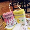Caixa de leite personalidade bolsa de ombro forma de morango/lemon impresso saco em forma de garrafa com palha bebida femle sacos de telefone celular