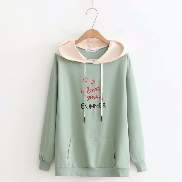 e277c7789a46b Plus size light green   pink   black   yellow   Beige hoodies women hooded  Embroidered