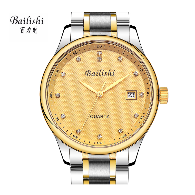 BAILISHI Casual Quartz Watch Diamonds Hour Stainless Steel Wrist Watch Male Clock Brand Luxury Men Wristwatch 30m Waterproof bailishi top luxury brand men watches diamonds hour stainless steel sports wrist watch male causal quartz male watch waterproof