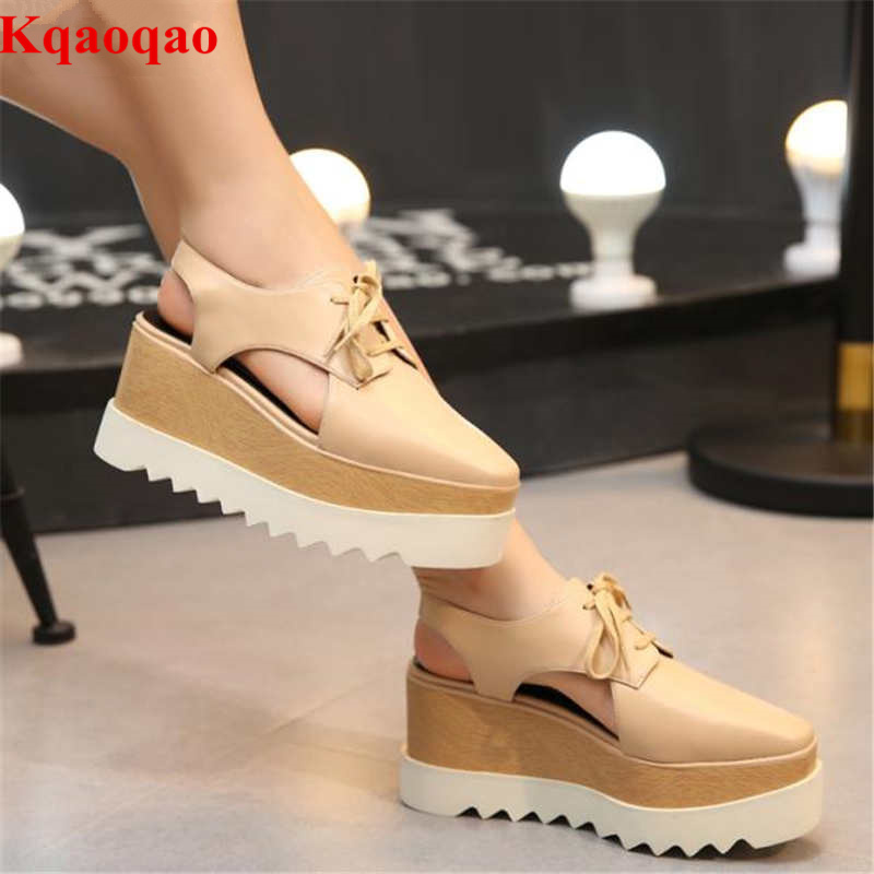 Hot Brand Design Slingback Women High Heels Wedges Casual Shoes Super Star Street Shoes Pumps Platform Shoes Square Toe Shoes