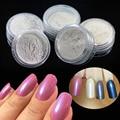 5 Colors + 10pcs Brush Nail Art Magic Glitter Laser Mermaid Effect Nail Chrome Pigment Powder Dust Tips Nail Art Set ND262x5