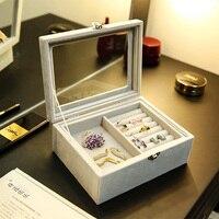 ANFEI 2019 New Arrivals 2 Layer Velvet Jewelry Gift Box Ring Earrings Necklace Pendant Bracelet Packaging Storage Box Wedding