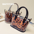 2016 Fashion High Quality PVC Candy Transparent Working Leopard Tote Bag Clear Color Bag Popular Unique Women Beach Handbag