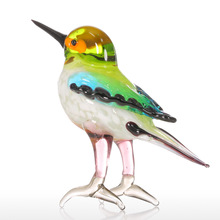 Tooarts Tiny Bird Gift Glass Ornament Animal Figurine Handblown Home Decor Multicolor for Office Home Decoration Creative Crafts
