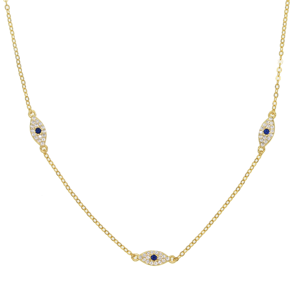 Image 2 - 2018 Fine silver jewelry minimal delicate cz Turkish evil eye charm dainty choker collarbone adorable women girl chain necklace-in Chain Necklaces from Jewelry & Accessories