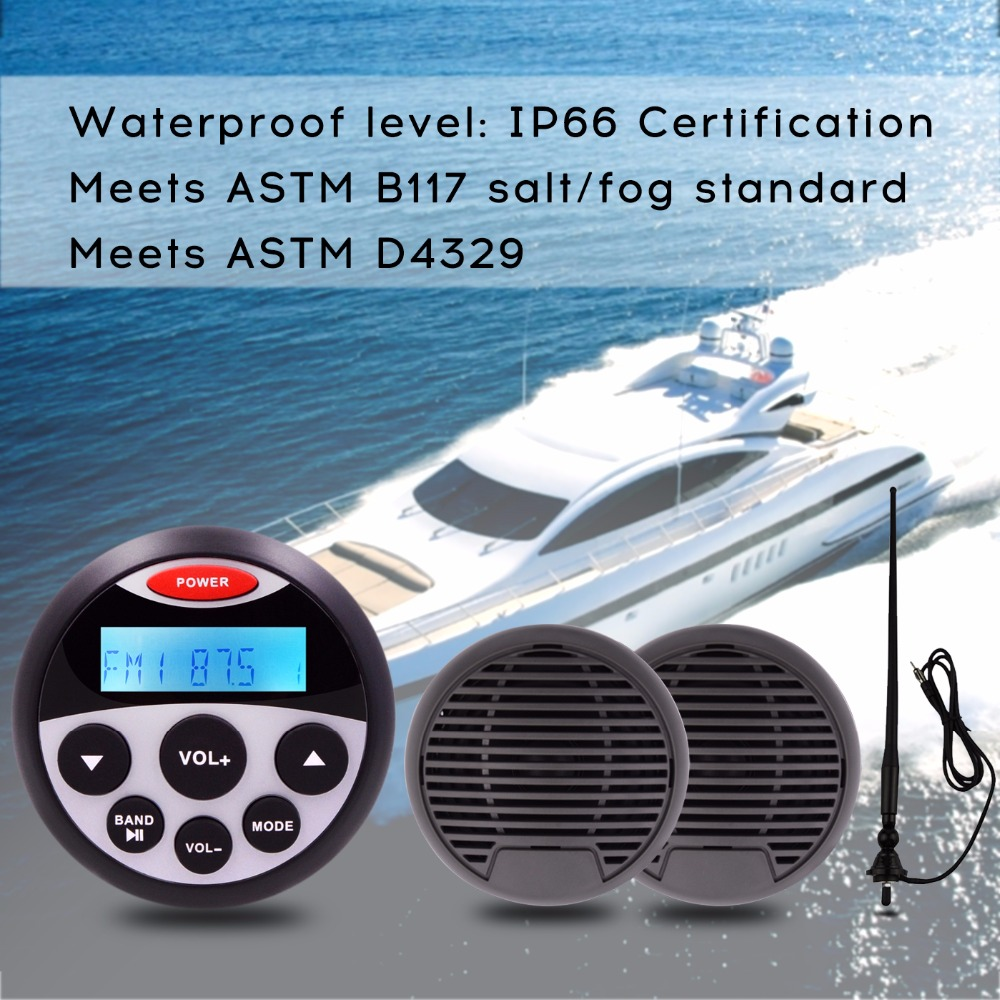 Waterproof Marine Stereo FM AM Radio Receiver MP3 AUXIN 3 Waterproof Marine Speaker For Motorcycle Boat + Antenna Sound System аквабокс ewa marine d am