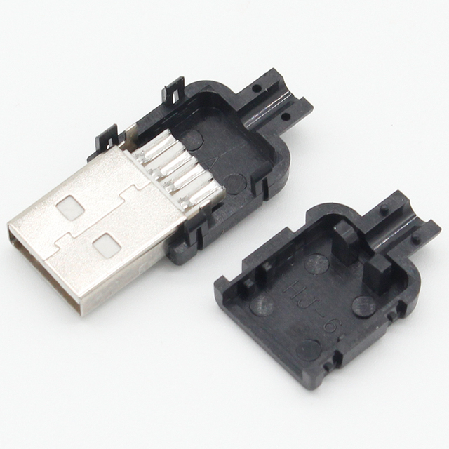 10 Sets DIY USB 2.0 Connector Plug A Type Male 4 Pin Assembly Adapter Socket Solder Type Black Plastic Shell For Data Connection