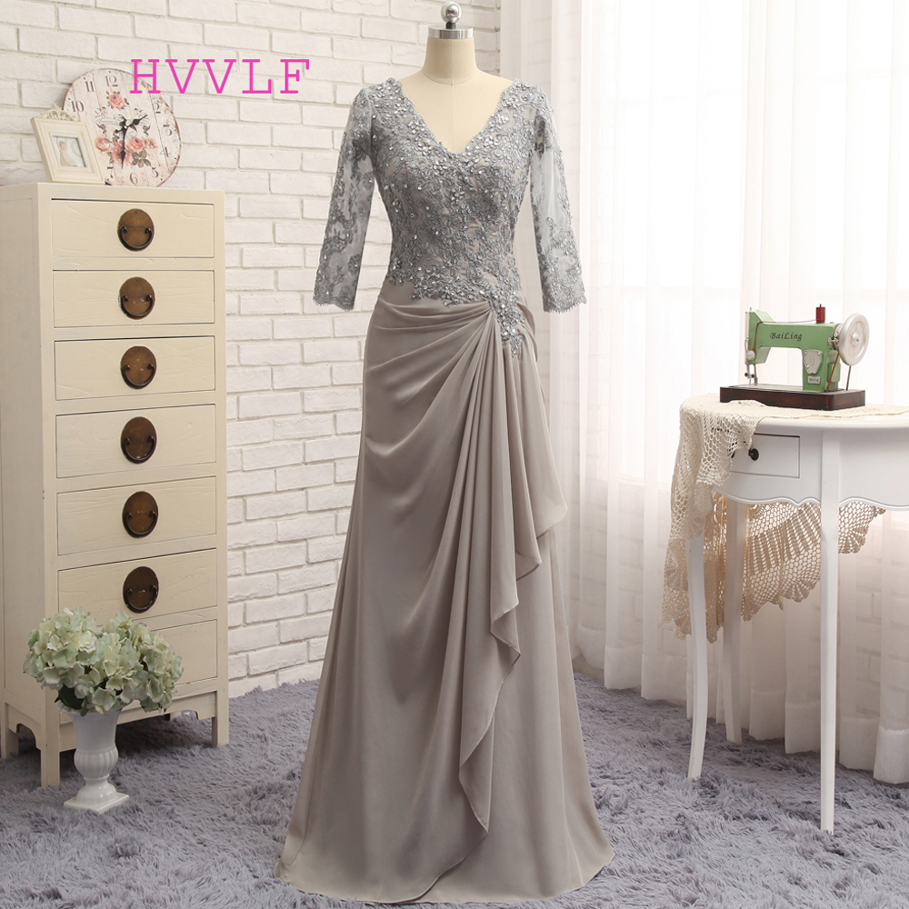 Plus Size Gray 2019 Mother Of The Bride Dresses A-line 3/4 Sleeves Chiffon Lace Wedding Party Dress Mother Dresses For Wedding