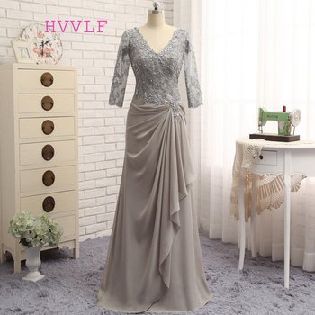Plus Size Gray Mother Of The Bride Dresses A-line 3/4 Sleeves Chiffon Lace Wedding Party Dress For - discount item  10% OFF Wedding Party Dress