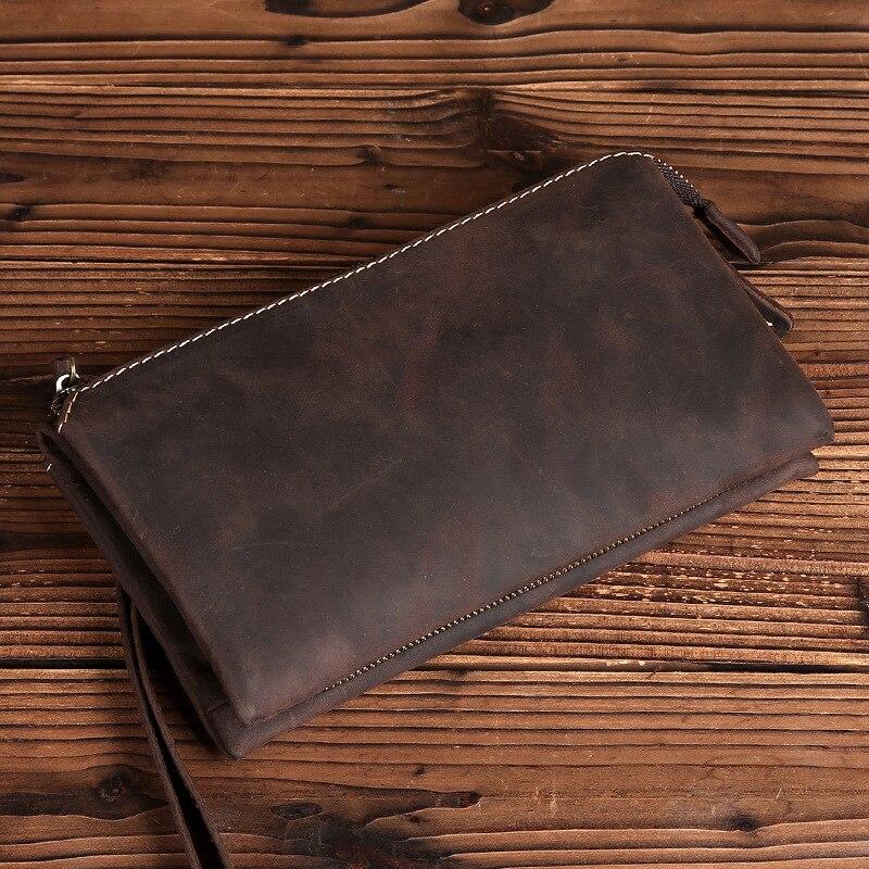 2018 Retro Genuine Cowhide Leather Retro Men s Clutch Bag Casual Handbag Tote Big Capacity Phone