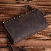 2018 Retro Genuine Cowhide Leather Retro Men's Clutch Bag Casual Handbag Tote Big Capacity Phone Money Card Wallet Purse LS0212