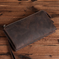 2018 Retro Genuine Cowhide Leather Retro Men's Clutch Bag Casual Handbag Tote Big Capacity Phone Money Card Wallet Purse LS0212