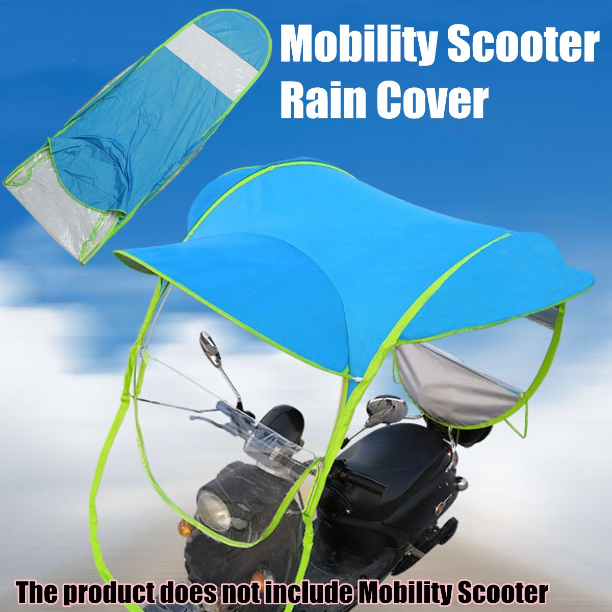 Blue Polyester Motorbike Scooter Sun Shade Rain Cover Electric Vehicle Umbrella Mobility Raincoat Poncho Dust Proof