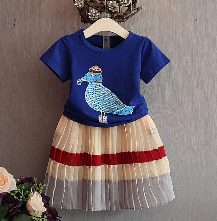 New Baby summer suit Girls Birdie temperament T-shirt + pleated skirt Suit Children 2pcs set wholesale