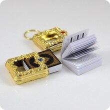 Mini caja con colgante en árabe, corán, musulmán, musulmán, papel real, lata de lectura, llaveros, joyería religiosa de moda