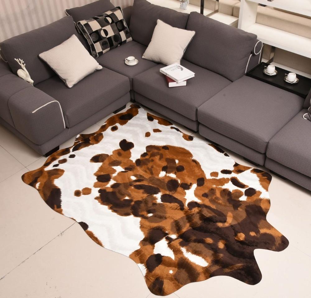 Imita O De Couro De Vaca Amarela Animais Tapete Tapete Tapete Sala  -> Tapetes Para Sala Ikea
