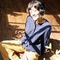 LinenAll женские рубашки темно-синий Мягкий двойной слой 100% хлопок о-образным вырезом рубашки женщины