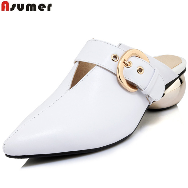 ASUMER 2018 fashion spring autumn shoes woman pointed toe casual pumps women shoes shallow med heels genuine leather shoes hee grand pointed toe pumps british style med heels patchwork t strap oxfords shoes woman casual vintage pump shoes xwd2469